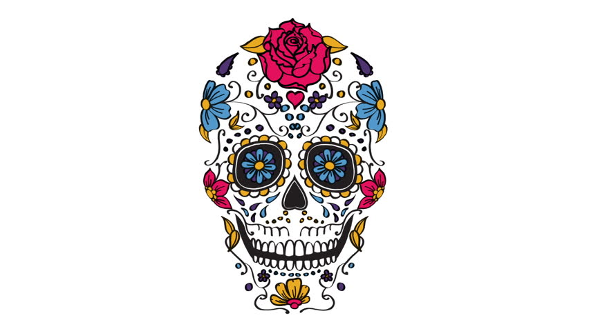 Mexican sugar skull elements animation