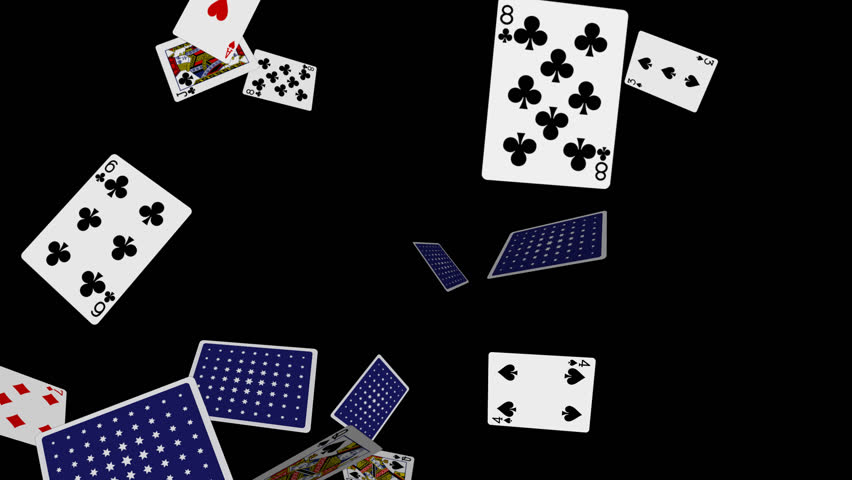 playing cards  flying 2  loop  alpha channel  slow