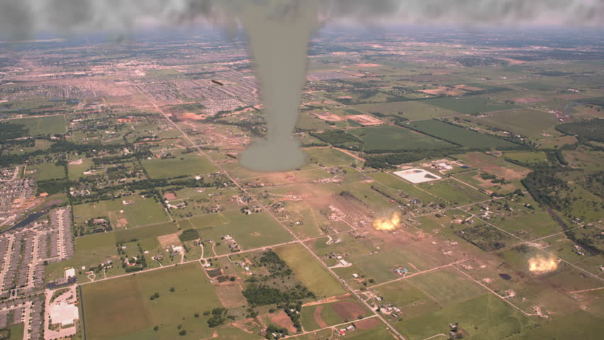 Destructive Tornado on the Ground A large tornado (CGI) cuts a path of destruction as seen from the air. High-quality 3d Animation in native UltraHD ready for your project.