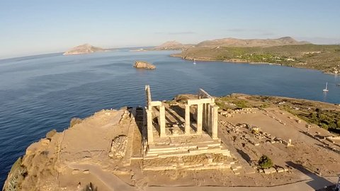 Temple of Poseidon in Sounio Greece aerial footage counterclockwise movement