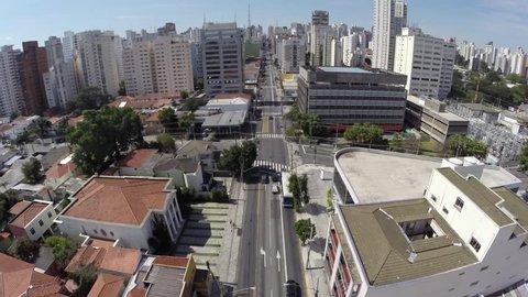 Aerial view from Avenue Brigadeiro Luis Antonio in Sao Paulo, Brazil