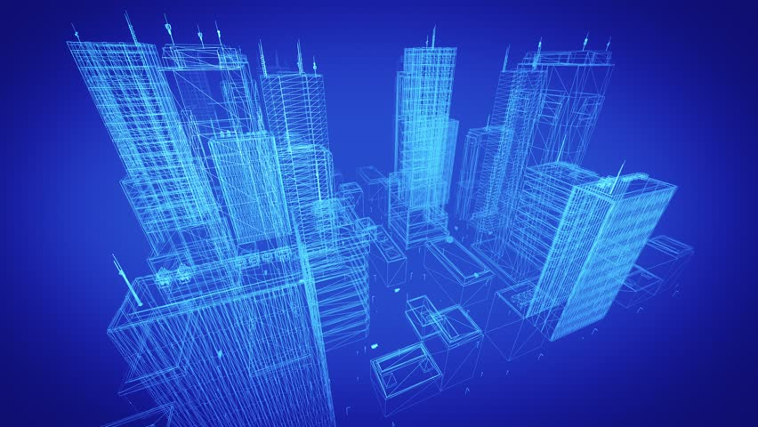 Architectural Blueprint Of Contemporary Buildings Blue Tint 4K Resolution Ultra HD Seamless Loop More Colors Available