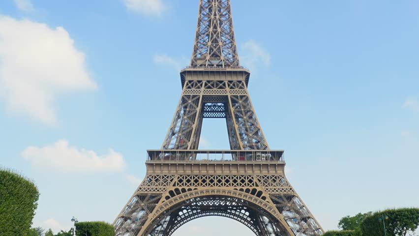 Eiffel tower tilt from champs de mars sunny day | Shutterstock HD Video #7258216