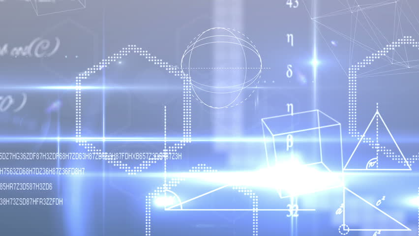 Digital animation of Math equations and shapes on blue background | Shutterstock HD Video #7286233