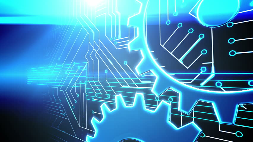 Digital animation of Cogs and wheels on circuit board design | Shutterstock HD Video #7286338
