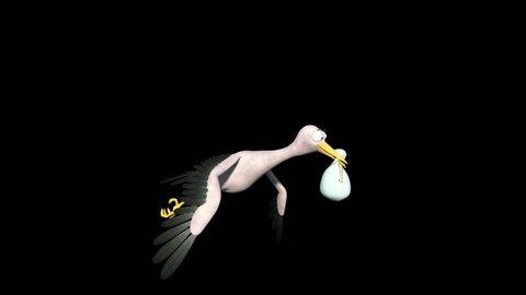 Flying Stork delivering Baby 3Dcartoon.
