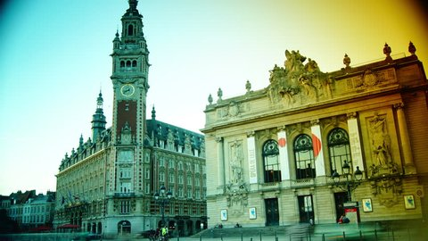 LILLE, FRANCE-SEP 25: Old building-Belfry and opera house of Lille on Sep 25,2014 in Lille, France. The Lille is largest city in northern France. It is a popular tourist spot. color graded