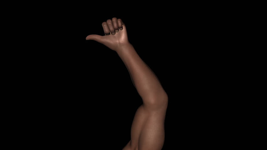 Hand Gesture - Black Male Thumb Finger - In - Loop - Alpha - Satisfaction, pleasure, luck support for sport, music, politic, social, concert, VJ as alone or crowd. 3D animation with transparent back. | Shutterstock HD Video #7361938