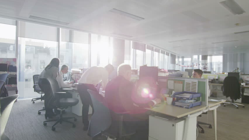 Diverse Business Group Working Together In Large Modern City Office Hd Stock Footage Clip
