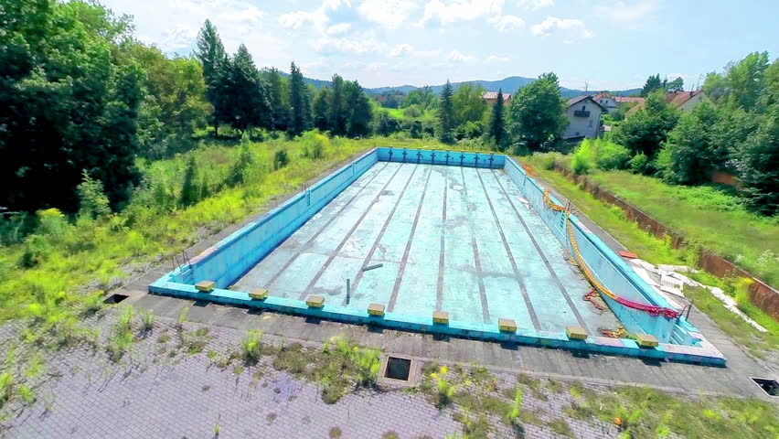 Ljubljana slovenia august 2014 aerial shot of empty for Unused swimming pool