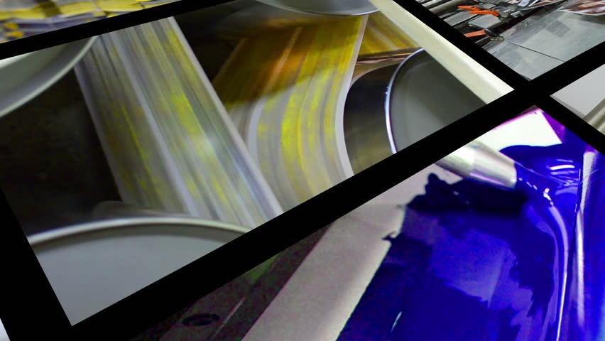 4K print montage. Video wall background of printing plant production process.