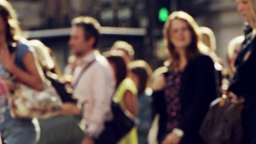 Anonymous crowd of people walking London City street slow motion | Shutterstock HD Video #7402426