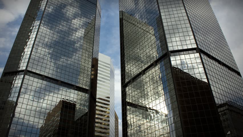 (1185) City Skyscrapers Urban Office Buildings Architecture Time-lapse Clouds LOOP.
