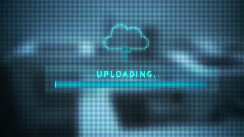 Upload screen progress bar digital screen of uploading progress bar  | Shutterstock HD Video #7424503