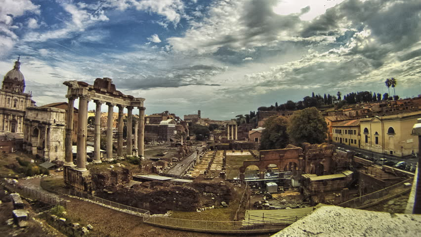 Roman Forum wide panning without people. Time lapse shot