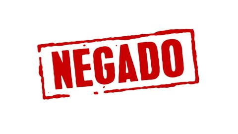 Red rubber stamp animation of the word declined in spanish with white background, black background, and alpha channel.