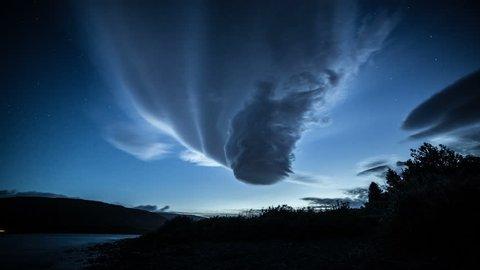 Morphing lenticular cloud twilight stars forest ufo 4k