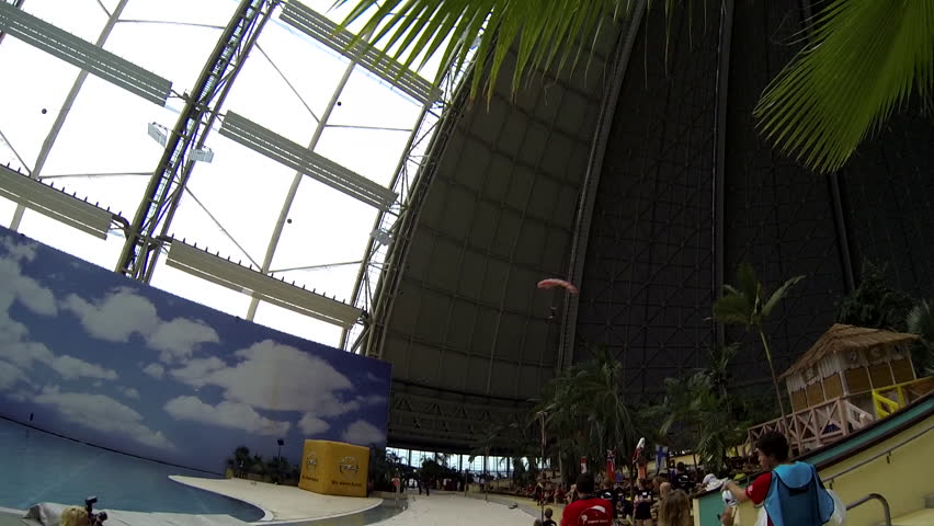 A base jumper lands on the ground after successully parachuting his way down in an indoor arena, spectators visible in the arena | Shutterstock HD Video #7475848