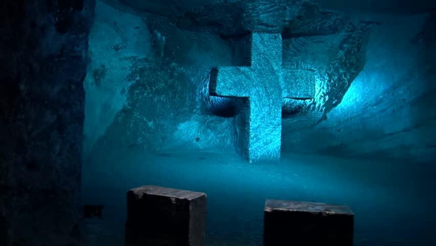 Still Shot On Sculpture Of Jesus Christ Crucified On Cross