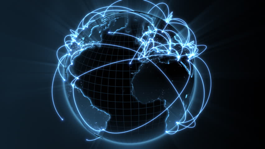 3d animation of a growing network across the world - blue version