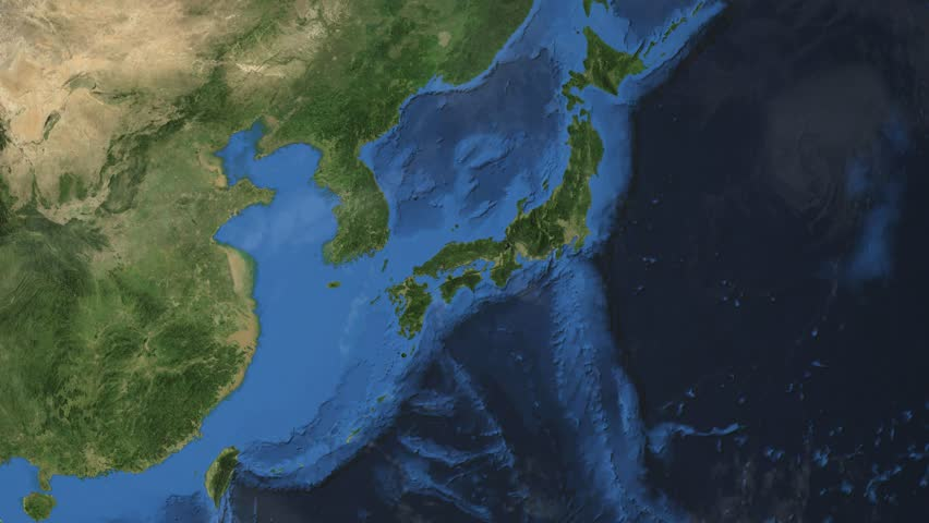 """Japan. 3d earth in space - zoom in on Japan contoured. """"Elements of this image furnished by NASA"""""""