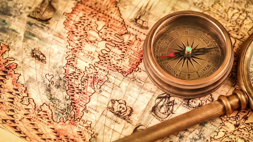 Old Brass Compass Over Antique Map Spinning Around Stock Footage - Antiques us maps with compass