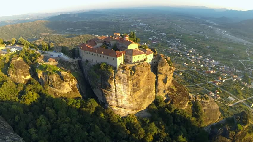 Aerial view of the monastery of St. Stephen in Meteora, Greece