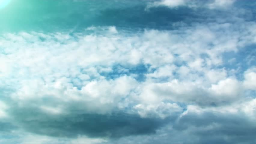 blue background with white clouds and word soul