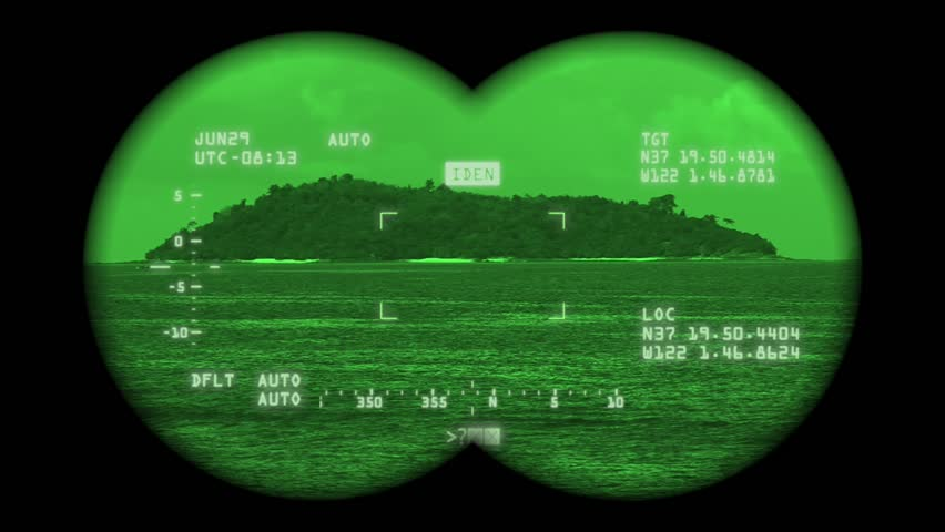 Spying island with high-tech binoculars