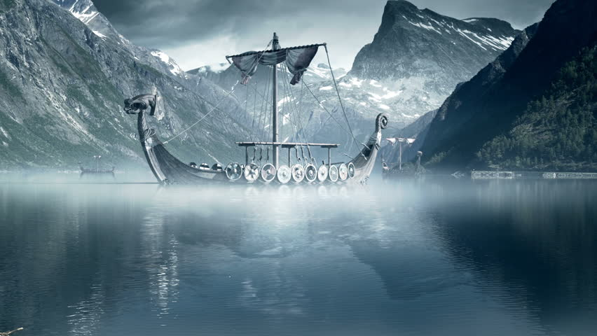 Viking Ships on nordic sea, Epic FullHD VisualFX shot