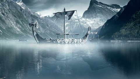 Viking Ships on nordic sea, Epic FullHD VisualFX shot