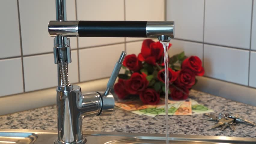 Water tap with running water and Euro Banknotes   Shutterstock HD Video #7638388