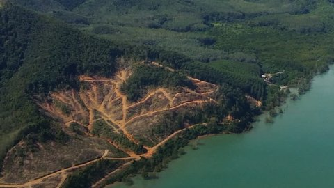 Aerial view of deforestation results of jungle rain forest disappearing due to tree cut for agricultural purpose in Thailand