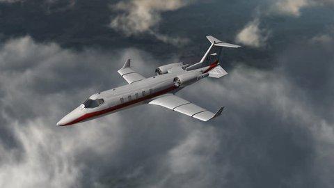 private corporate jet - luxury corporate airplane - in flight