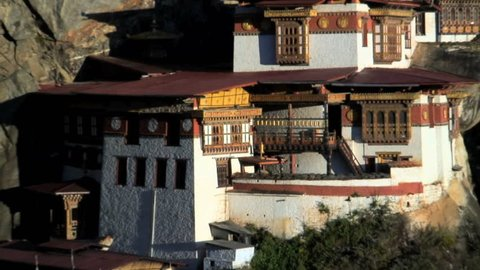 Taktsang Dzong monastery or Tigers Nest built in the 8th century Paro Bhutan