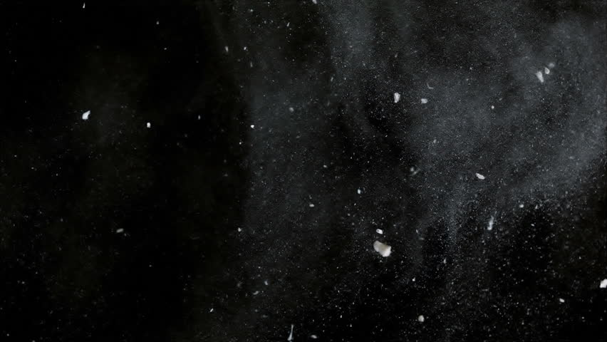 White particles slowly moving and ink on black background, slow motion