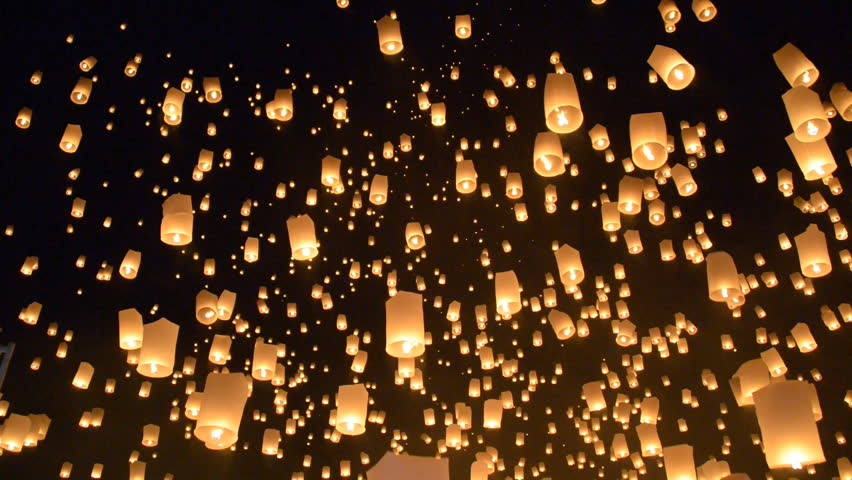 Yeepeng Sansai Floating Lantern Ceremony to pay Homage to the Lord Buddha,Chiangmai Thailand. #7716118
