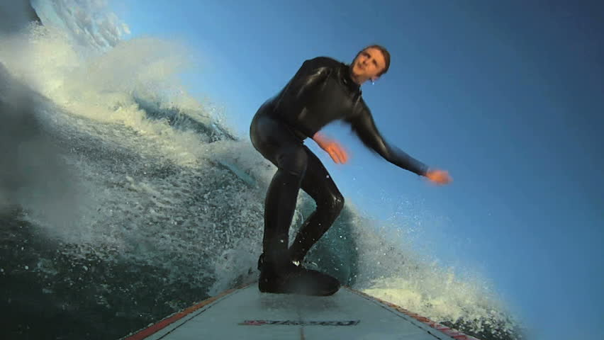 Surfing pov. HD Slow Motion. Barreled and wipe out.  | Shutterstock HD Video #7733614