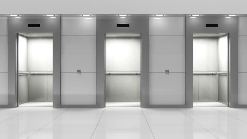 Opening Doors In Modern Elevator 3d Animation Stock