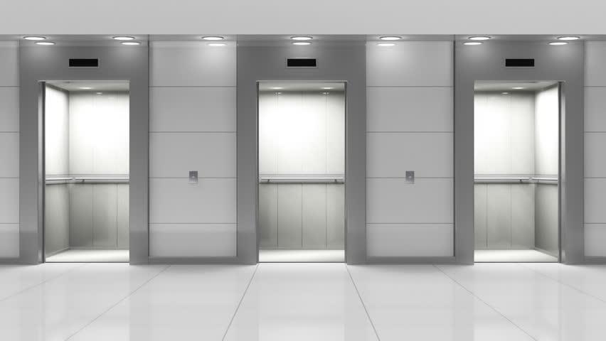 Opening Doors In Modern Elevator 3d Animation Stock