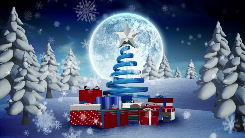 Loop Christmas Snow Globe Snowflake Snowfall Blue Digital Animation Tree