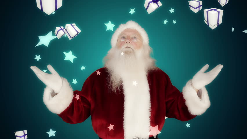 Santa raising hands against falling christmas gifts on blue background   Shutterstock HD Video #7742518