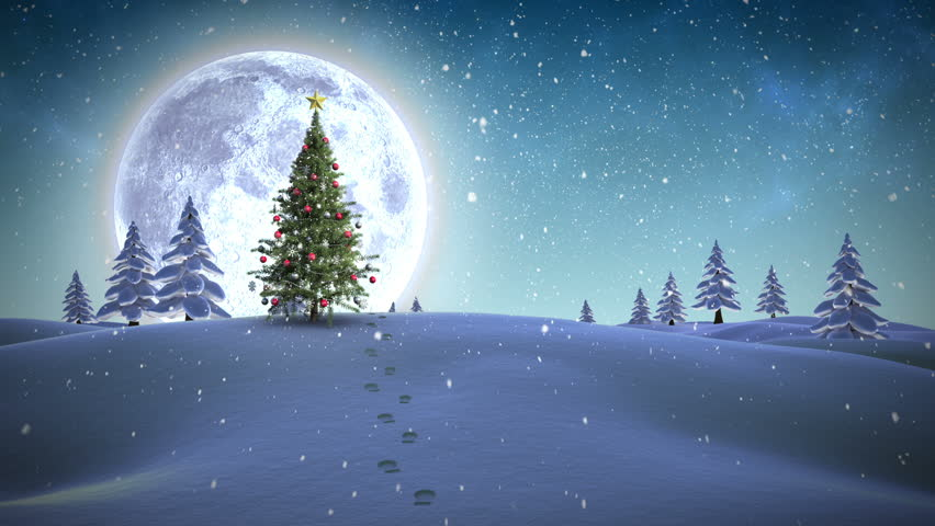 Digital animation of Christmas message appearing in snowy landscape | Shutterstock HD Video #7743217