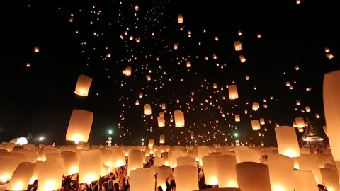 SANSAI, CHIANGMAI, THAILAND - OCT 25: Yee Peng Festival, Loy Krathong celebration with more than a thousand floating lanterns in Chiangmai, Thailand on October 25, 2014.