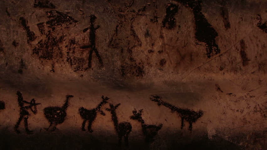Rock paintings from Magura cave, Bulgaria. Some of the paintings are 7000 years old. Hunting scene. Wedding scene.