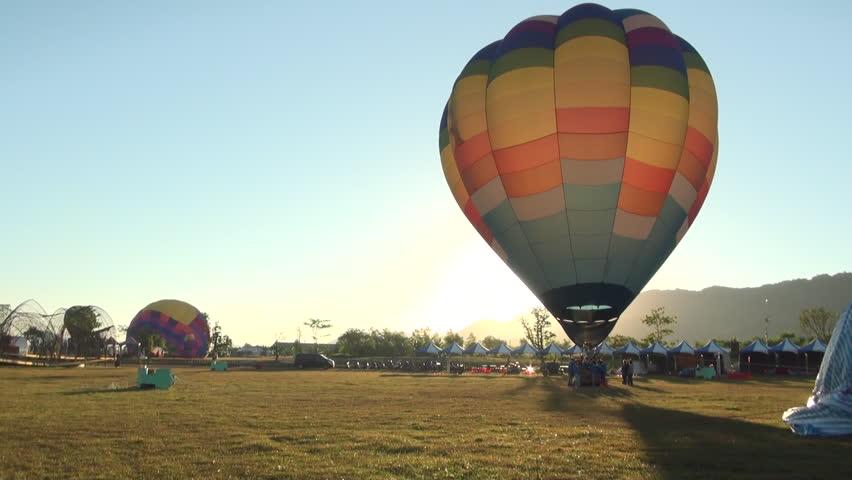 Hualian, Taiwan-10 July, 2013: Hot air balloons and ROC flad, Taiwan