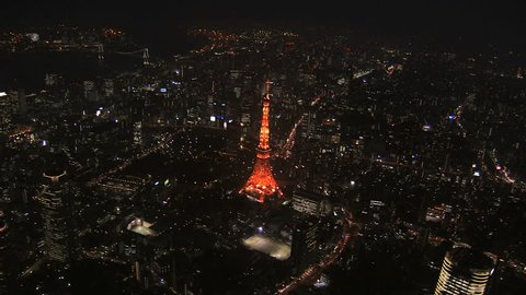Aerial illuminated city Rainbow Bridge transport night Tokyo Tower Bay Expressway travel Odaiba District Japan Asia