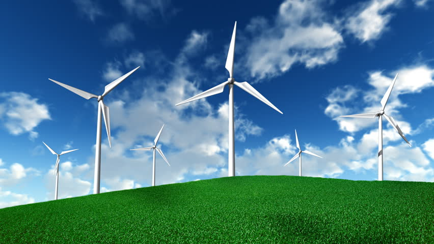 working wind turbines with clouds stock footage video  100