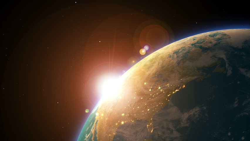 Earth And Sun Rising View From The Outside 3d Animation