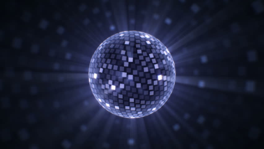 Fly around silver disco ball. Glittering mirror ball rotates, emits rays and cast spots of light. Perfect for your event, party, music video, concert, video art, video projection mapping. | Shutterstock HD Video #7860418